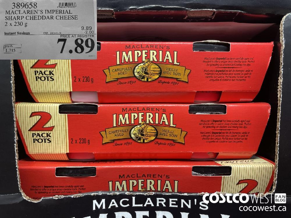 389658 MACLAREN'S IMPERIAL SHARP CHEDDAR CHEESE 2 x 230 g EXPIRY DATE: 2021-01-24 $7.89