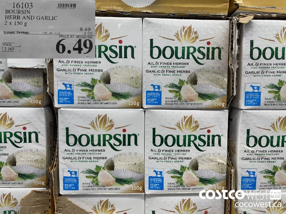 16103 BOURSIN HERB AND GARLIC 2 X 150 g EXPIRY DATE: 2021-01-24 $6.49