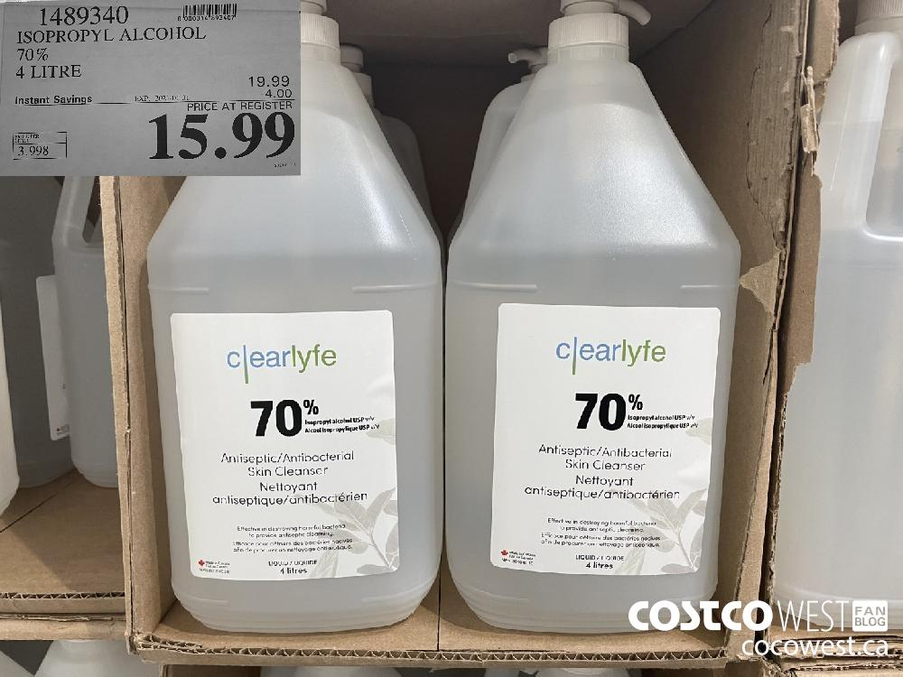 1489340 ISOPROPYL ALCOHOL 70% 4 LITRE EXPIRY DATE: 2021-01-31 $15.99
