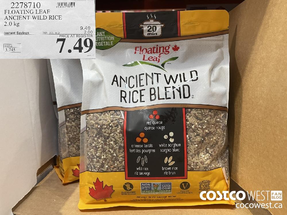 2278710 FLOATING LEAF ANCIENT WILD RICE 2.0 kg EXPIRY DATE: 2021-01-24 $7.49