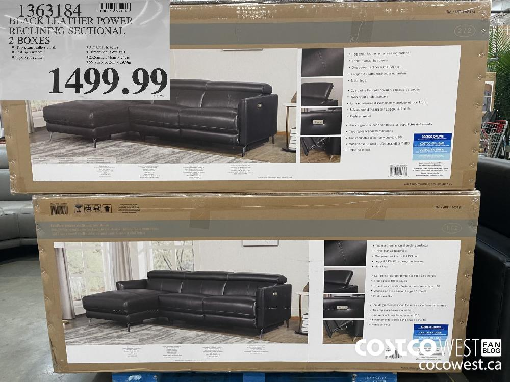 1363184 BLACK LEATHER POWER RECLINING SECTIONAL 2 BOXES $1499.99