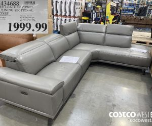 1434688GREY LEATHER POWFRRECLINING SECTIONAL2 BOXES$1999.99