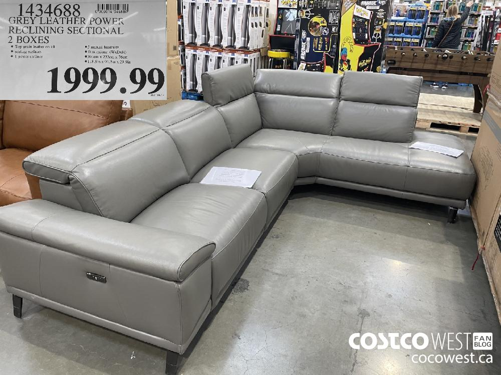 1434688 GREY LEATHER POWFR RECLINING SECTIONAL 2 BOXES $1999.99