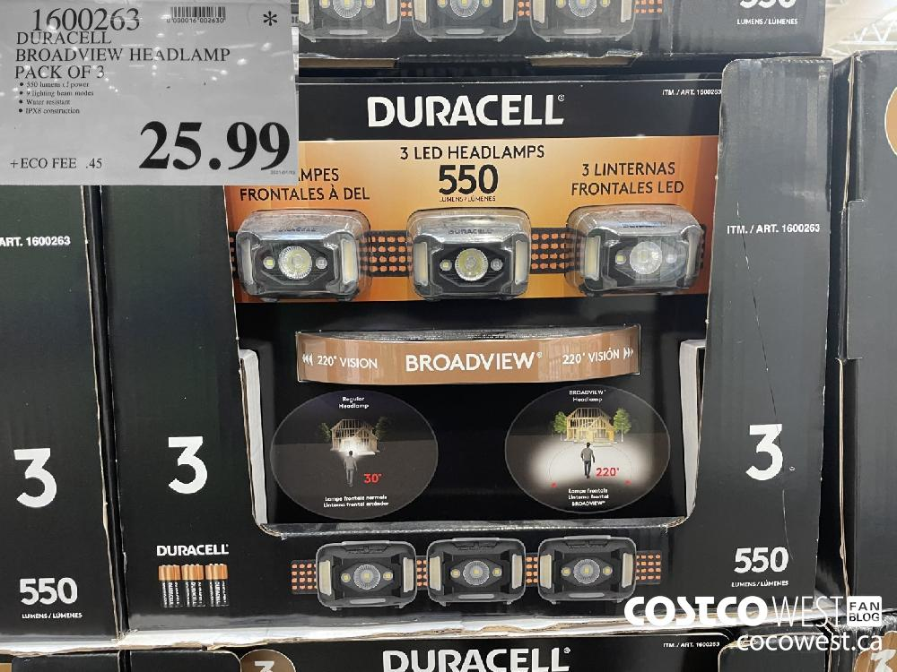 1600262 DURACELL BROADVIEW HEADLAMP PACK OF 3 $25.99