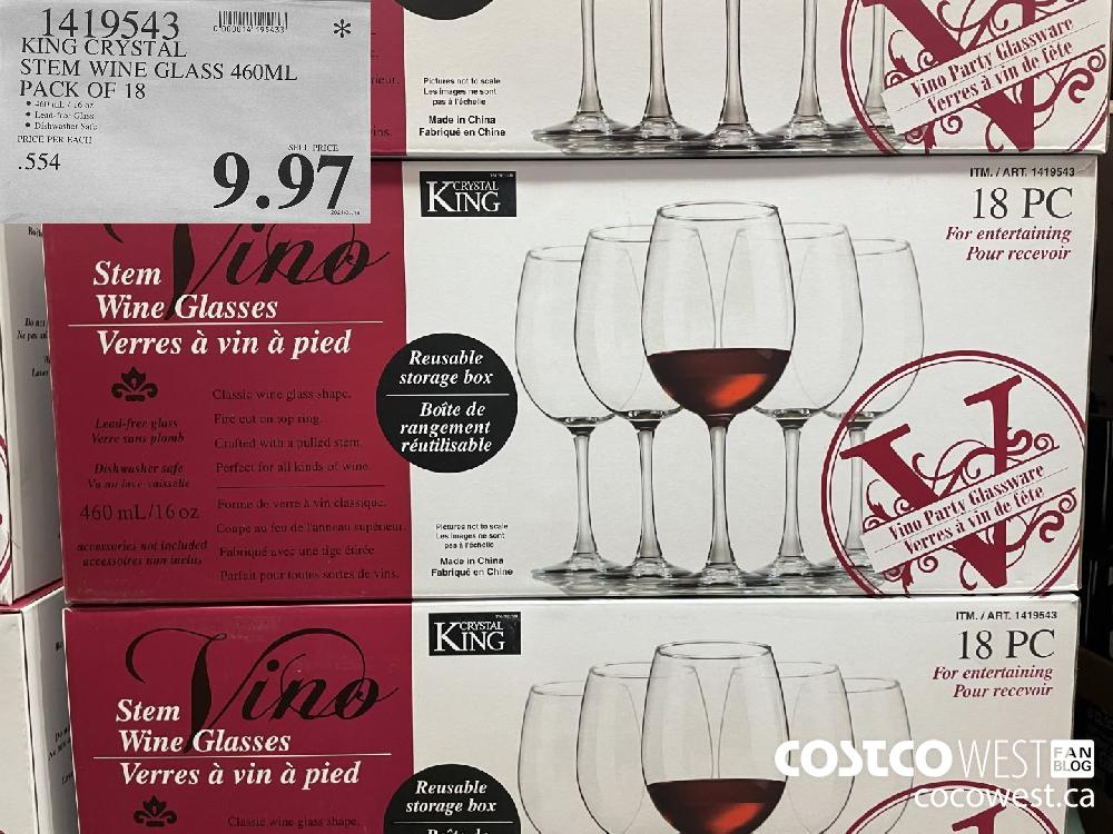 1419543 KING CRYSTAL STEM WINE GLASS 460ML PACK OF 18 $9.97
