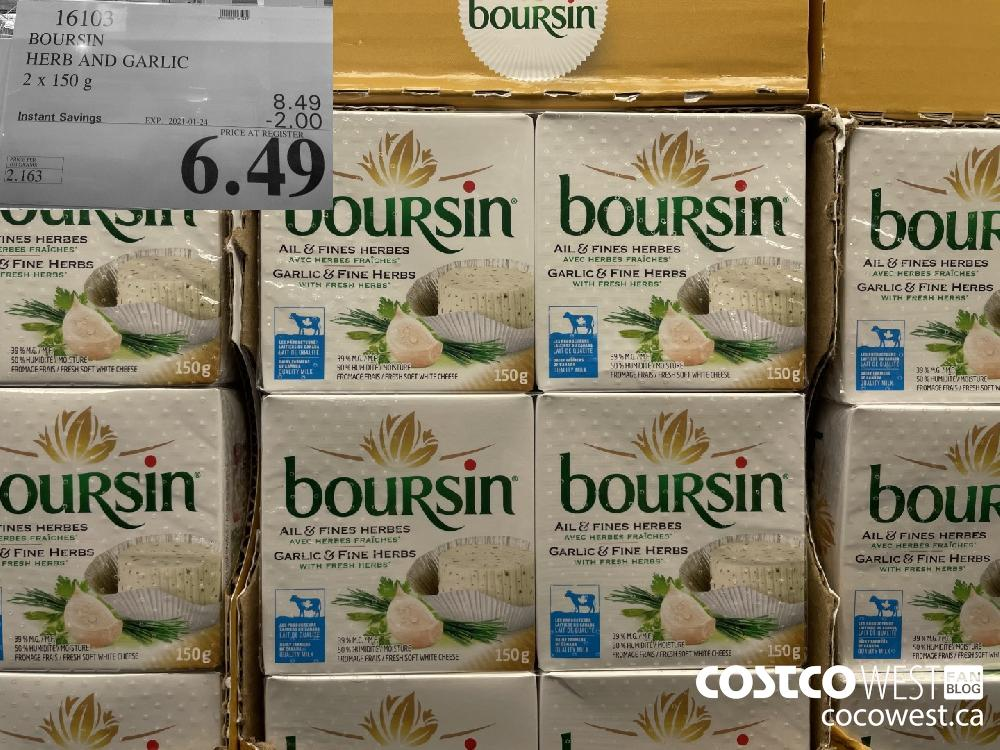 16103 BOURSIN HERB AND GARLIC 2 x 150 g EXPIRY DATE: 2027-01-24 $6.49