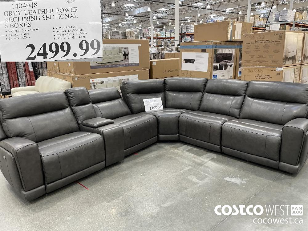 1404948 GREY LEATHER POWER RECLINING SECTIONAL 6 BOXES $2499.99