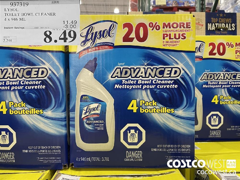 937319 LYSOL TOILET BOWL CLEANER 4 x 946 ML EXPIRY DATE: 2021-01-31 $8.49