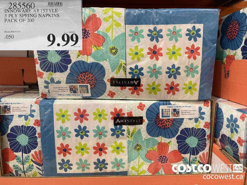 925560 INNOWARE ARTSTYLE 3 PLY SPRING NAPKINS PACK OF 200 $9.99