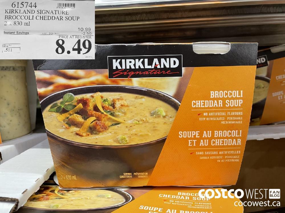 615744 KIRKLAND SIGNATURE BROCCOLI CHEDDAR SOUP 2 X 830 ml EXPIRY DATE: 2021-01-31 $8.49