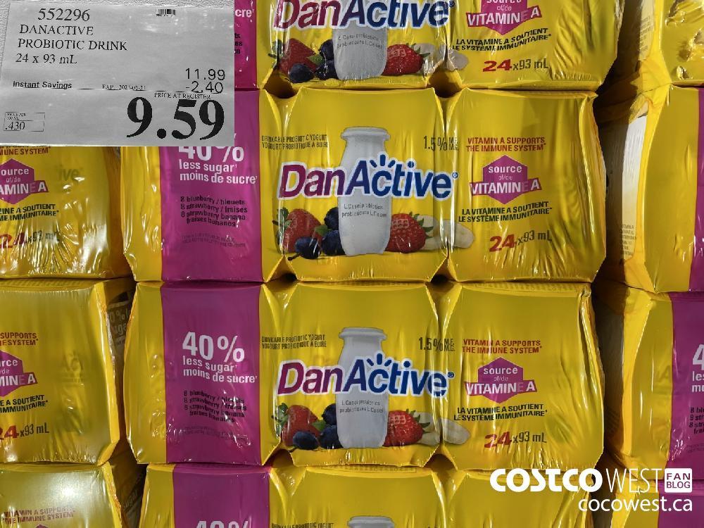 552296 DANACTIVE PROBIOTIC DRINK 24 x 93 mL EXPIRY DATE: 2021-01-31 $9.59