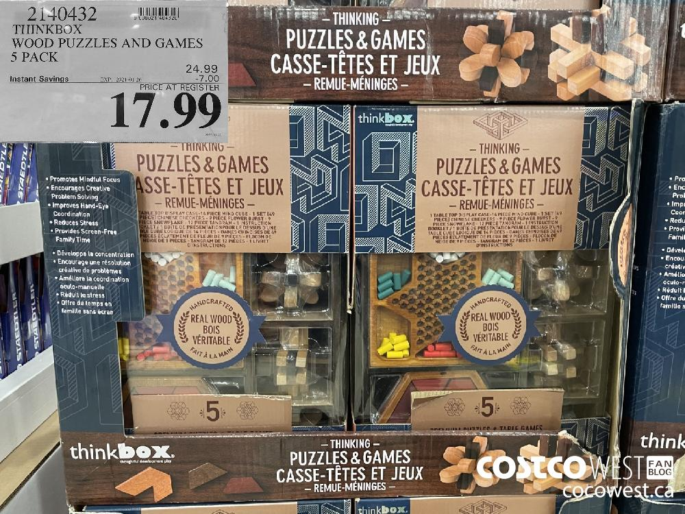 2140432 THINKBOX WOOD PUZZLES AND GAMES 5 PACK EXPIRY DATE: 2021-01-26 $17.99