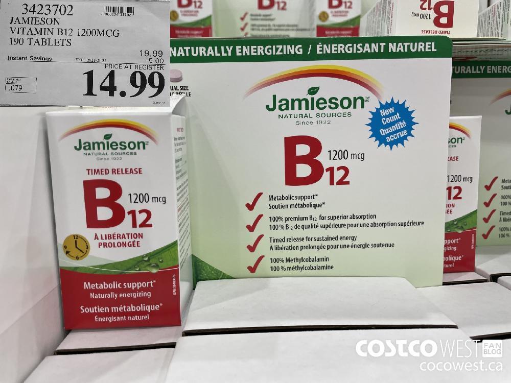 3423702 JAMIESON VITAMIN B12 1200MCG 190 TABLETS EXPIRY DATE: 2021-01-31 $14.99