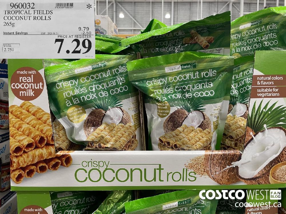 960032 TROPICAL FIELDS COCONUT ROLLS 265g EXPIRY DATE: 2021-01-31 $7.29