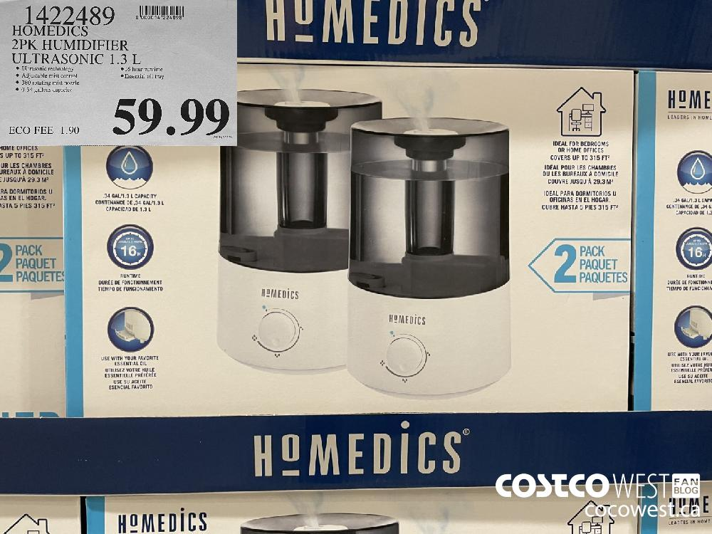 1422489 HOMEDICS 2PK HUMIDIFIER ULTRASONIC 1.3 L $59.99
