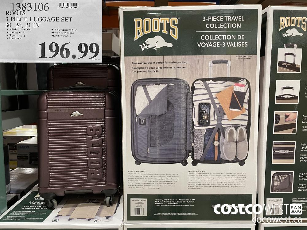 1383106 ROOTS 3 PIECE LUGGAGE SET 30 26 21 IN $196.99