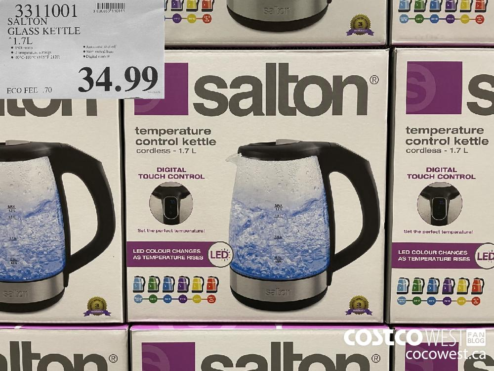 3311001 SALTON GLASS KETTLE 1.7 L $34.99