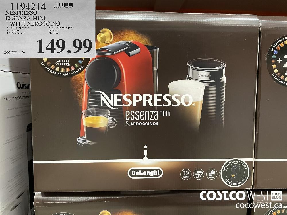 1194214 NESPRESSO ESSENZA MINI WITH AEROCCINO $149.99