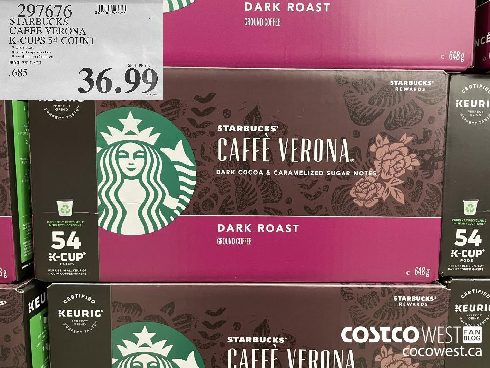 2907676 STARBUCKS CAFFE VERONA K-CUPS 54 COUNT $36.99
