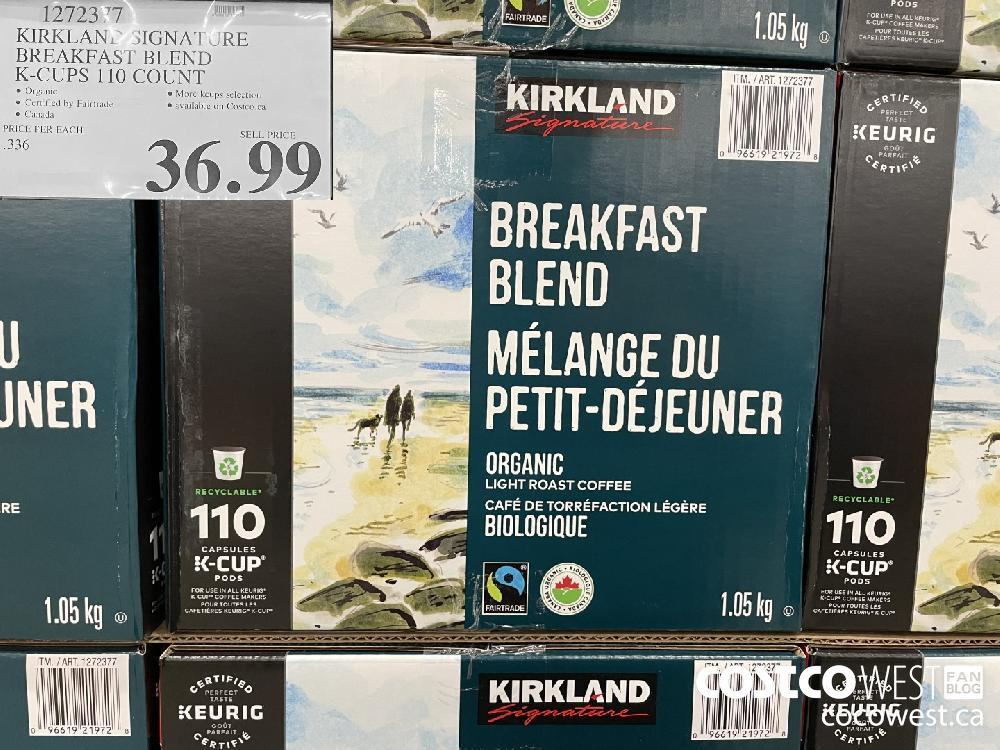 1272377 KIRKLAND SIGNATURE BREAKFAST BLEND K-CUPS 110 COUNT $36.99