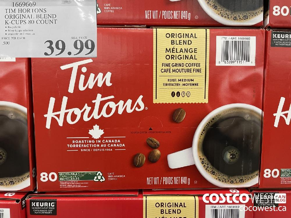 1669669 TIM HORTONS ORIGINAL BLEND K-CUPS 80 COUNT $39.99