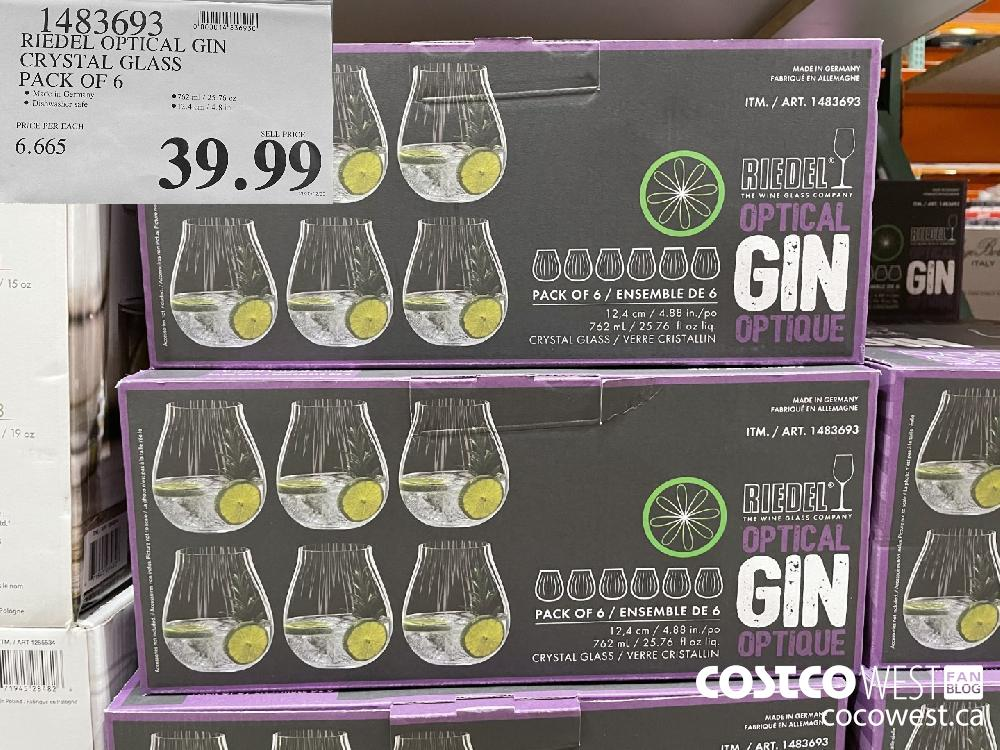 1483693 RIEDEL OPTICAL GIN CRYSTAL GLASS PACK OF 6 $39.99