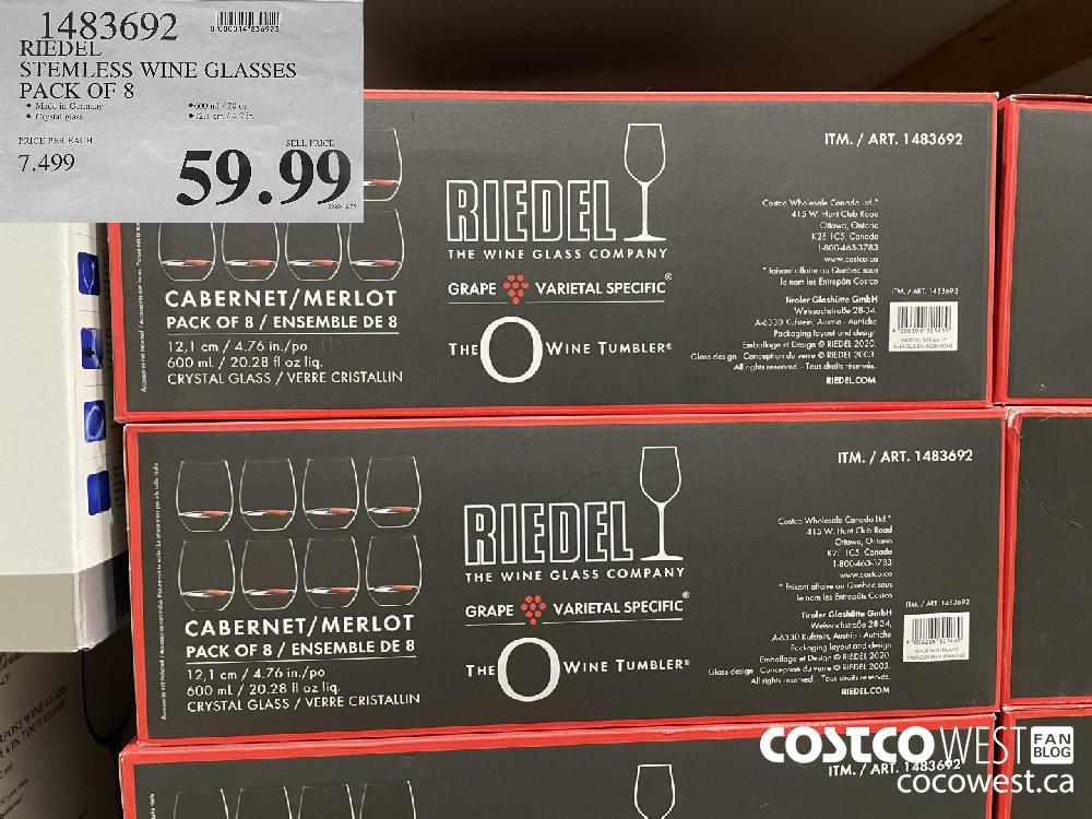 1483692 RIEDEL STEMLESS WINE GLASSES PACK OF 8 $59.99