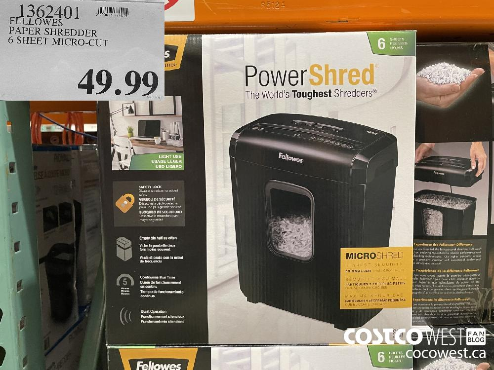 1362401 FELLOWES PAPER SHREDDER 6 SHEET MICRO-CUT $49.99
