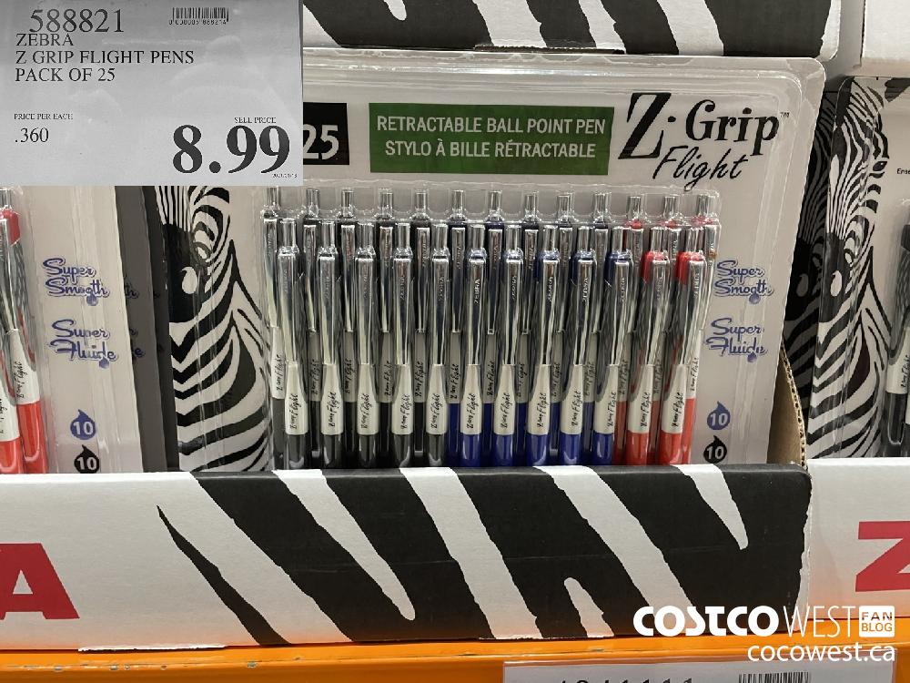 588991 ZEBRA Z GRIP FLIGHT PENS PACK OF 25 $8.99