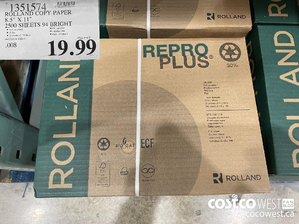 "1351574 ROLLAND COPY PAPER 8.5"" x 11"" 2500 SHEETS 94 BRIGHT $19.99"
