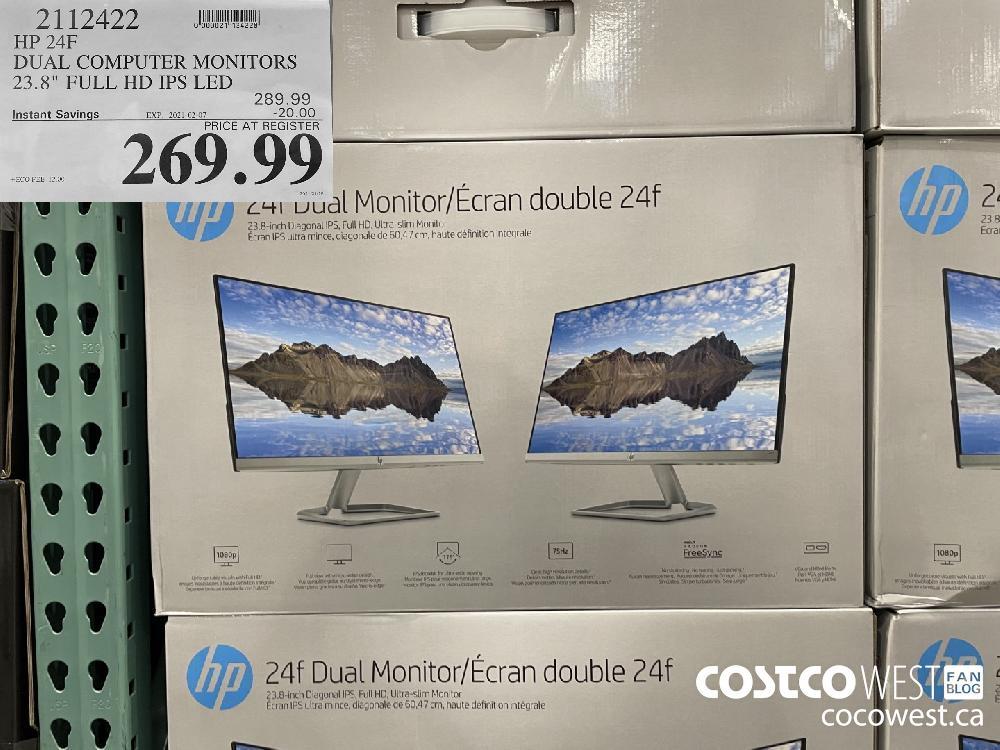 "2112422 HP 24F DUAL COMPUTER MONITORS 23.8"" FULL HD IPS LED EXPIRY DATE: 2021-02-07 $269.99"