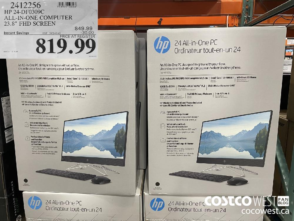 """2412256 HP 24-DF0309C ALL-IN-ONE COMPUTER 23.8"""" FHD SCREEN EXPIRY DATE: 2021-02-03 $819.99"""