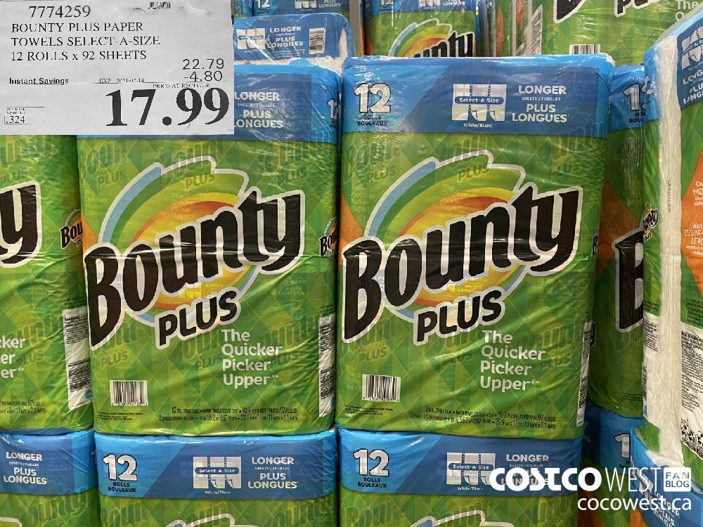 7774259 BOUNTY PLUS PAPER TOWELS SELECT-A-SIZE 12 ROLLS x 92 SHEETS EXPIRY DATE: 2021-02-14 $17.99