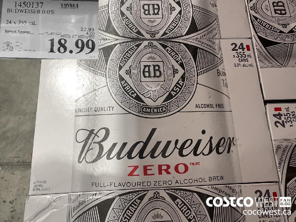 1450137 BUDWEISER 0.0% 24 x 355 mL EXPIRY DATE: 2021-02-07 $18.99