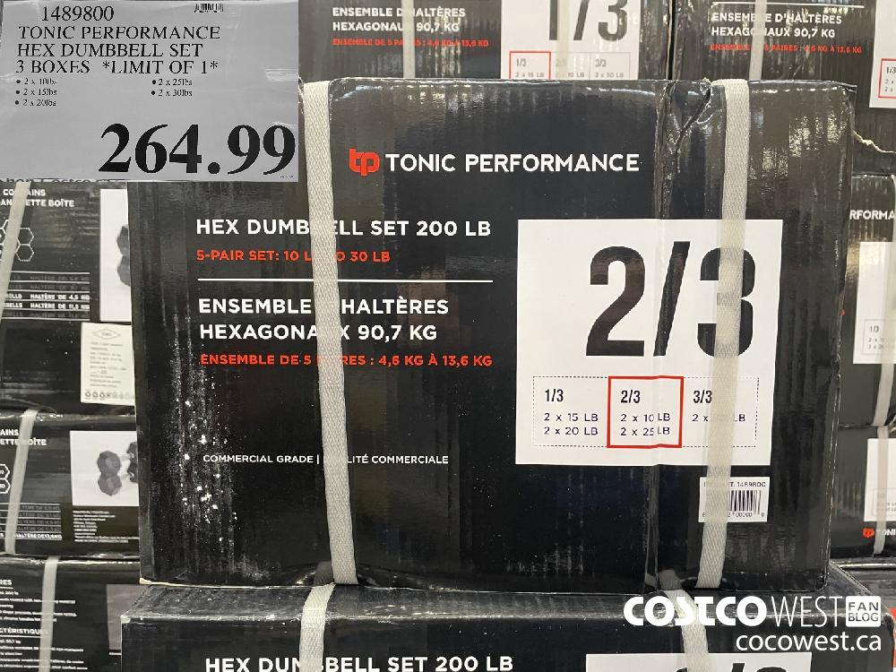 1489800 TONIC PERFORMANCE HEX DUMBBELL SET 3 BOXES *LIMIT OF 1* $264.99