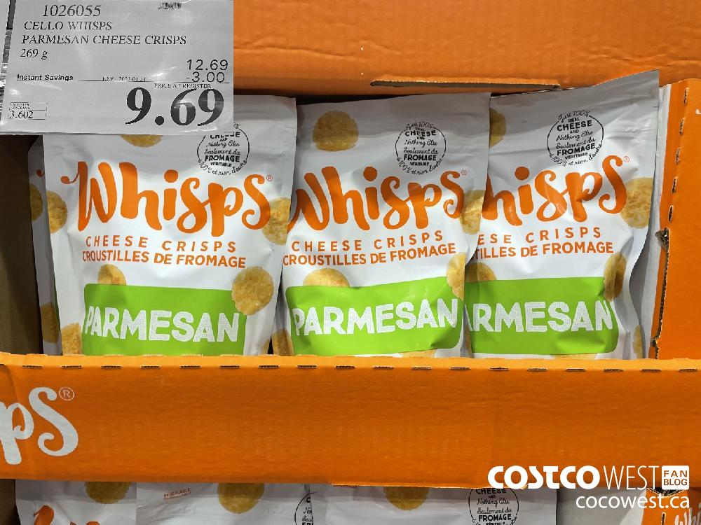 1026055 CELLO WHISPS PARMESAN CHEESE CRISPS 269 g EXPIRY DATE: 2021-01-31 $9.69