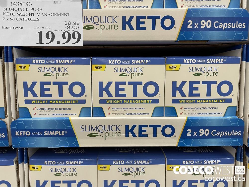 1438143 SLIMQUICK PURE KETO WEIGHT MANAGEMENT 2 x 90 CAPSULES EXPIRY DATE:IRY DATE: 2021-02-28 $19.99