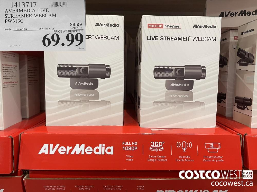 1413717 AVERMEDIA LIVE STREAMER WEBCAM PW313C EXPIRY DATE:IRY DATE: 2021-02-25 $69.99