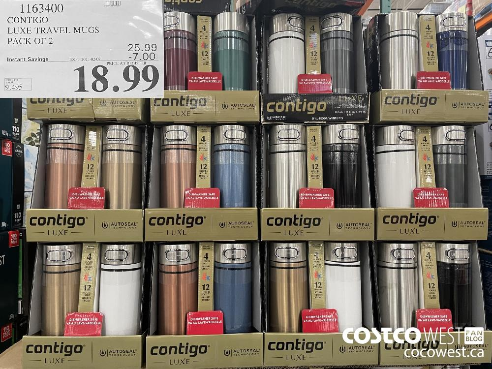 1163400 CONTIGO LUXE TRAVEL MUGS PACK OF 2 EXPIRY DATE:IRY DATE: 2021-02-07 $18.99