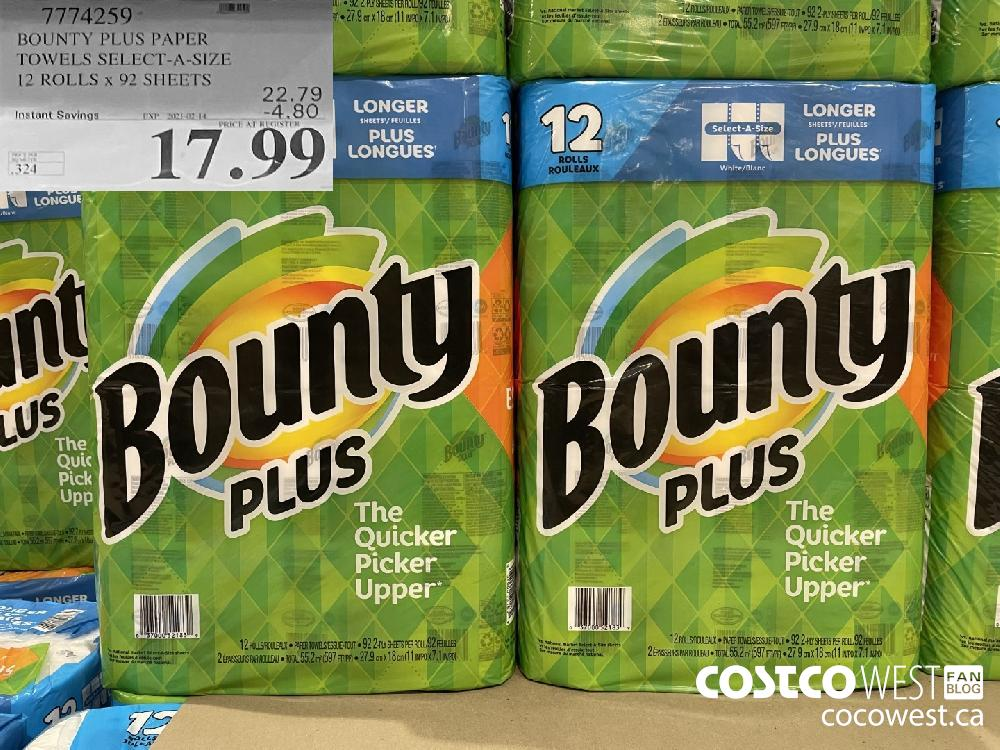 7774259 BOUNTY PLUS PAPER TOWELS SELECT-A-SIZE 12 ROLLS x 92 SHEETS EXPIRY DATE:IRY DATE: 2021-02-14 $17.99