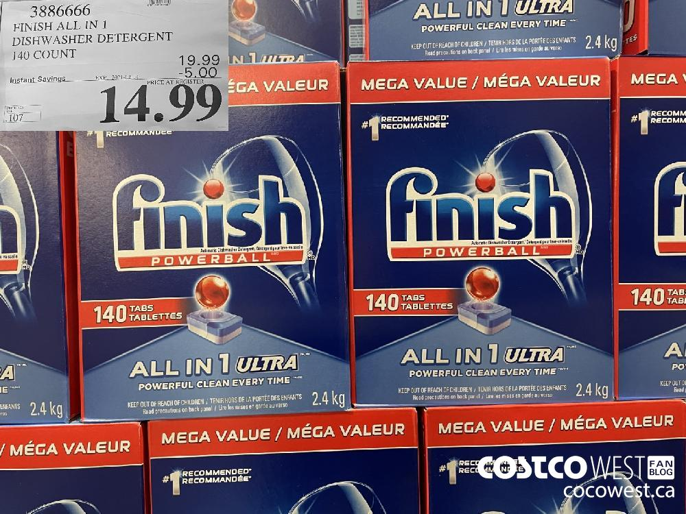 23266600 FINISH ALL IN 1 DISHWASHER DETERGENT 140 COUNT EXPIRY DATE:IRY DATE: 2021-02-14 $14.99