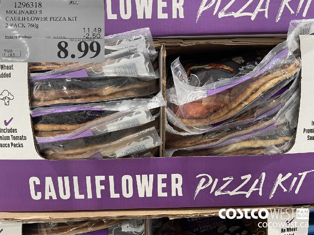 1296318 MOLINARO'S CAULIFLOWER PIZZA KIT 2 PACK 760g EXPIRY DATE:IRY DATE: 2021-02-28 $8.99