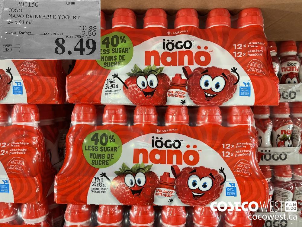 401150 IOGO NANO DRINKABLE YOGURT 24 x 93 mL EXPIRY DATE:IRY DATE: 2021-02-28 $8.49
