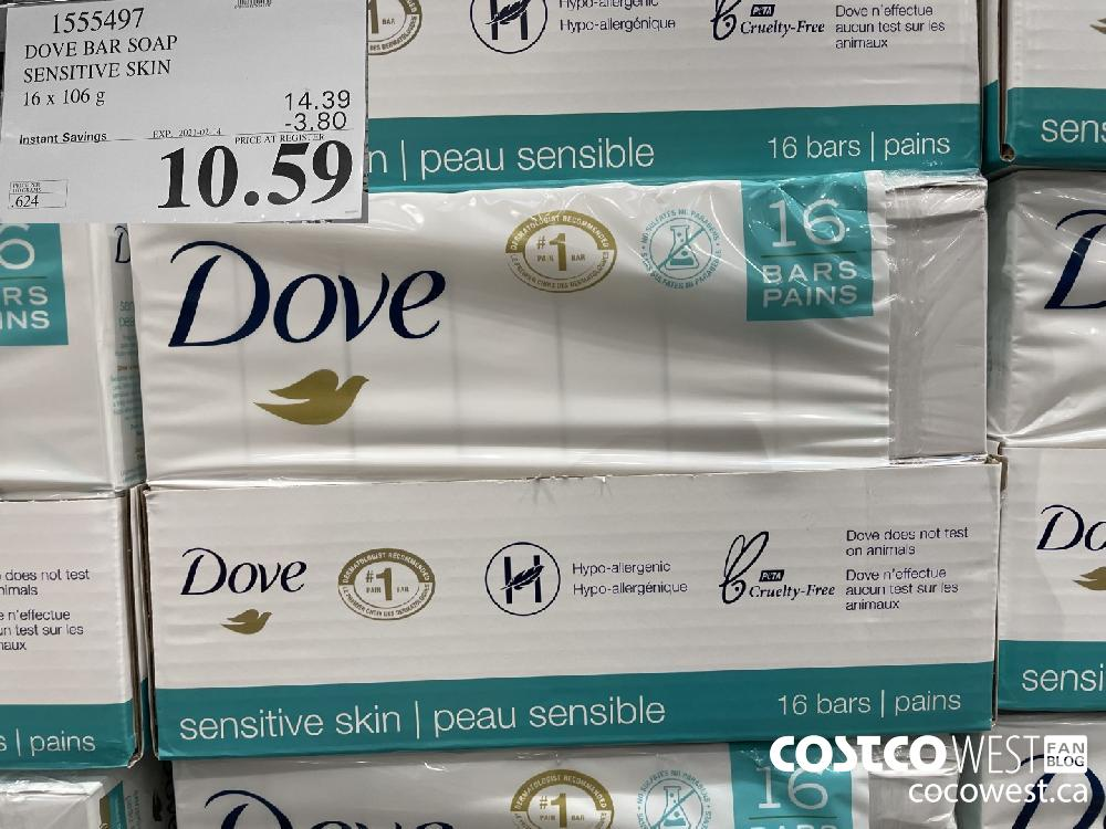 1555497 DOVE BAR SOAP SENSITIVE SKIN 16 x 106 g EXPIRY DATE:IRY DATE: 2021-02-14 $10.59