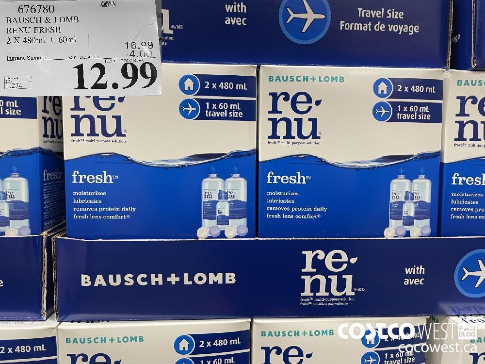 616720 BAUSCH RENU FRESH 2 X 480ml 60ml EXPIRY DATE: 2021-02-28 $12.99
