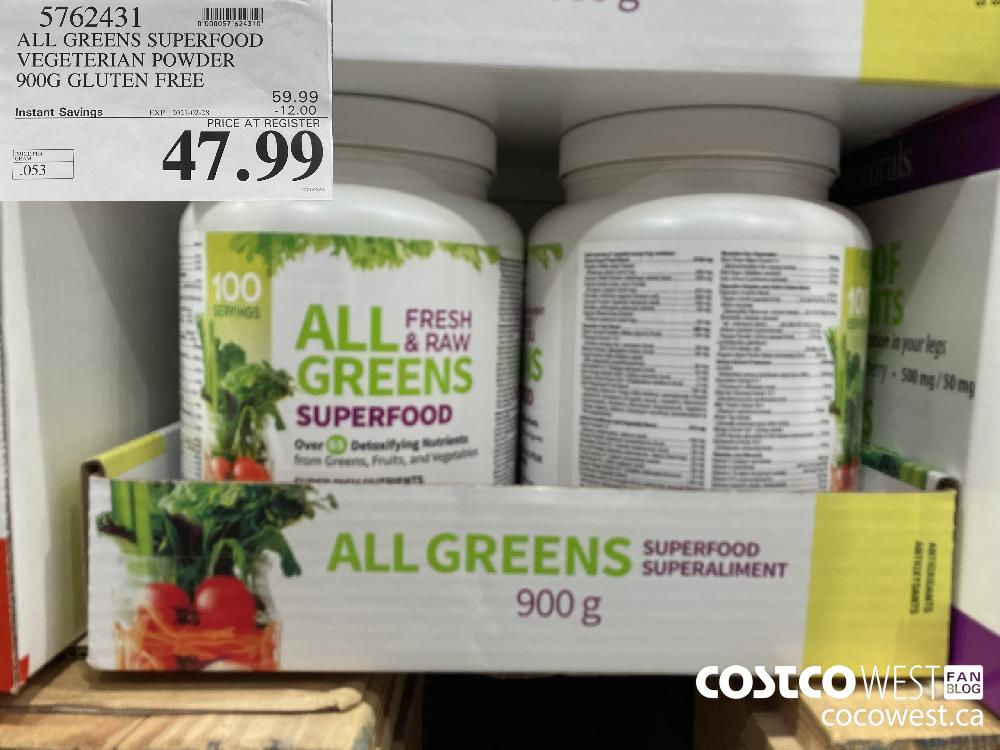 5762431 ALL GREENS SUPERFOOD VEGETERIAN POWDER 900G GLUTEN FREE 5 EXPIRY DATE:IRY DATE: 2021-02-28 $47.99