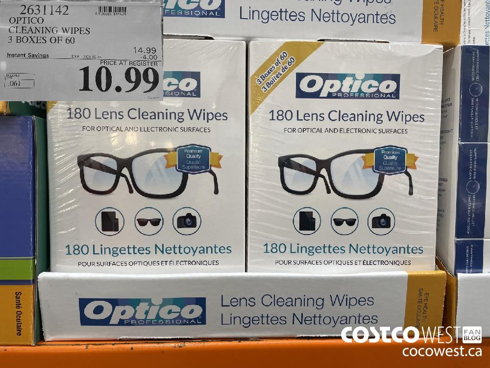 2631142 OPTICO CLEANING WIPES 3 BOXES OF 60 EXPIRY DATE:IRY DATE: 2021-02-28 $10.99