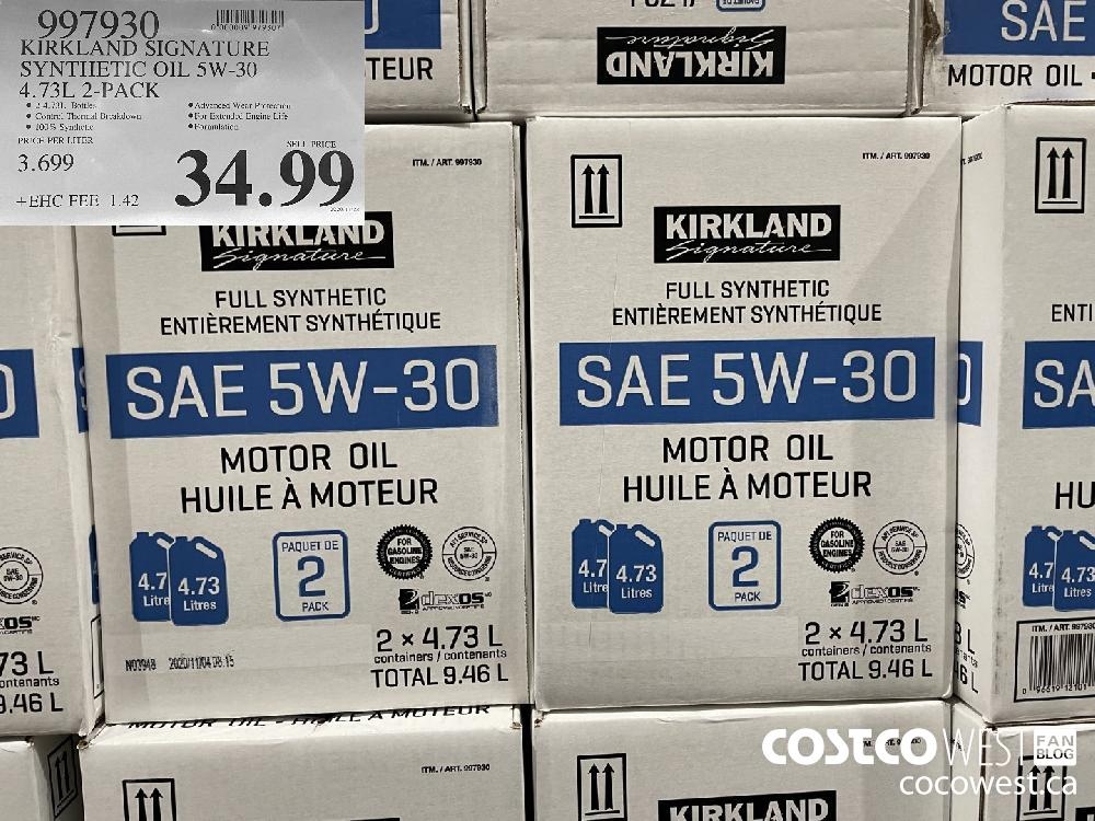 997930 KIRKLAND SIGNATURE SYNTHETIC OIL 5W-30 4.73L 2-PACK $34.99
