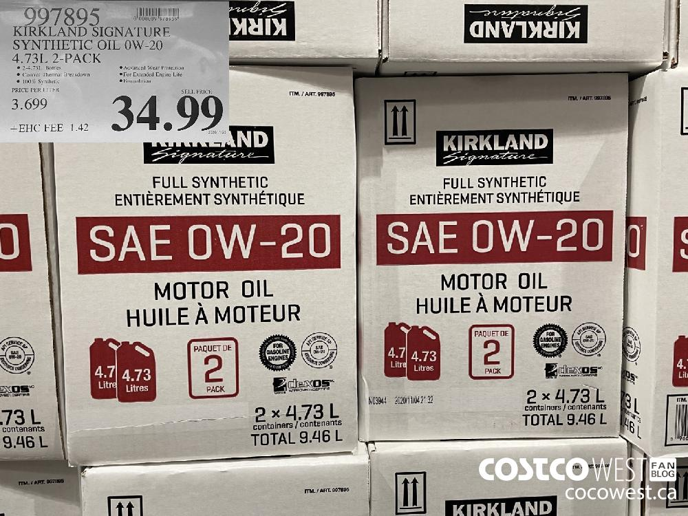997395 KIRKLAND SIGNATURE SYNTHETIC OIL OW-20 4.73L 2-PACK $34.99