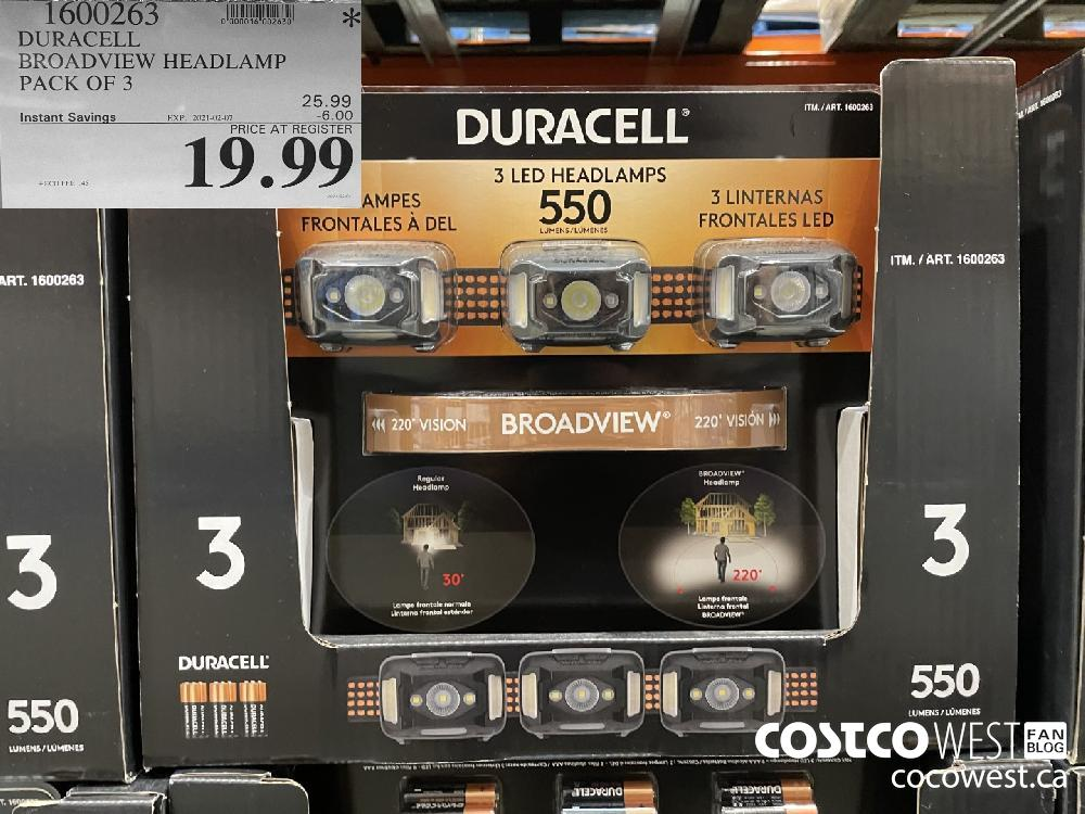 1600263 DURACELL BROADVIEW HEADLAMP PACK OF 3 EXPIRY DATE: 2021-02-07 $19.99